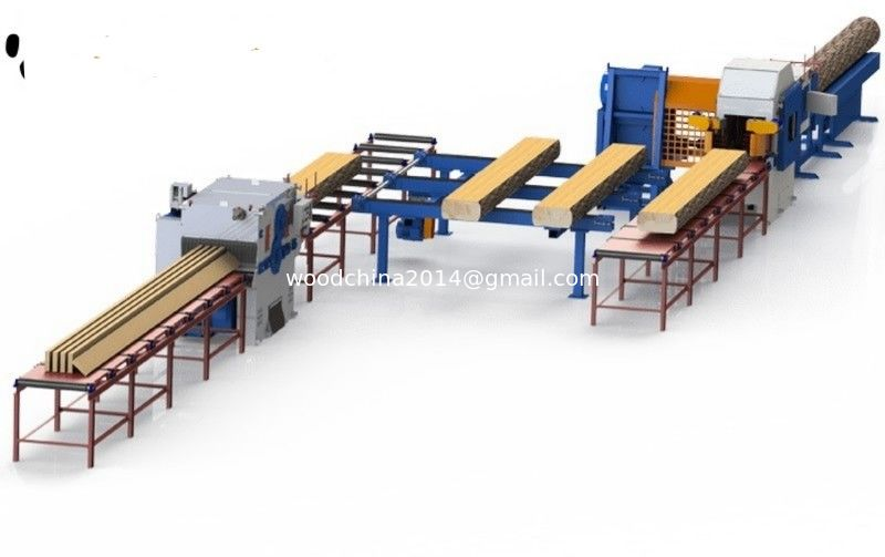 Round Logs Sawing Multiple Blades Ripsaw Saw Production Line with auto inverter feeding